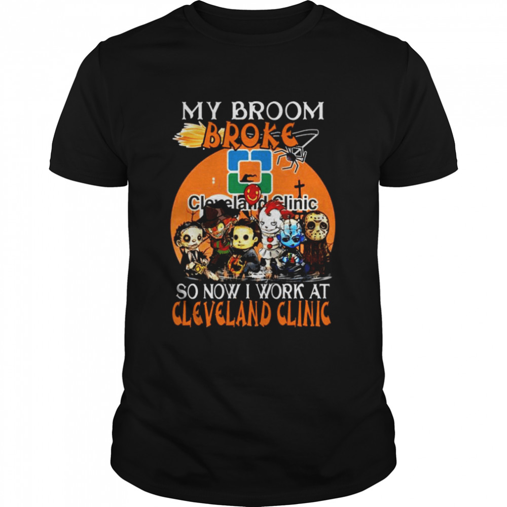 Chibi Horror Characters My Broom Broke So Now I Work At Cleveland Clinic Halloween Shirt