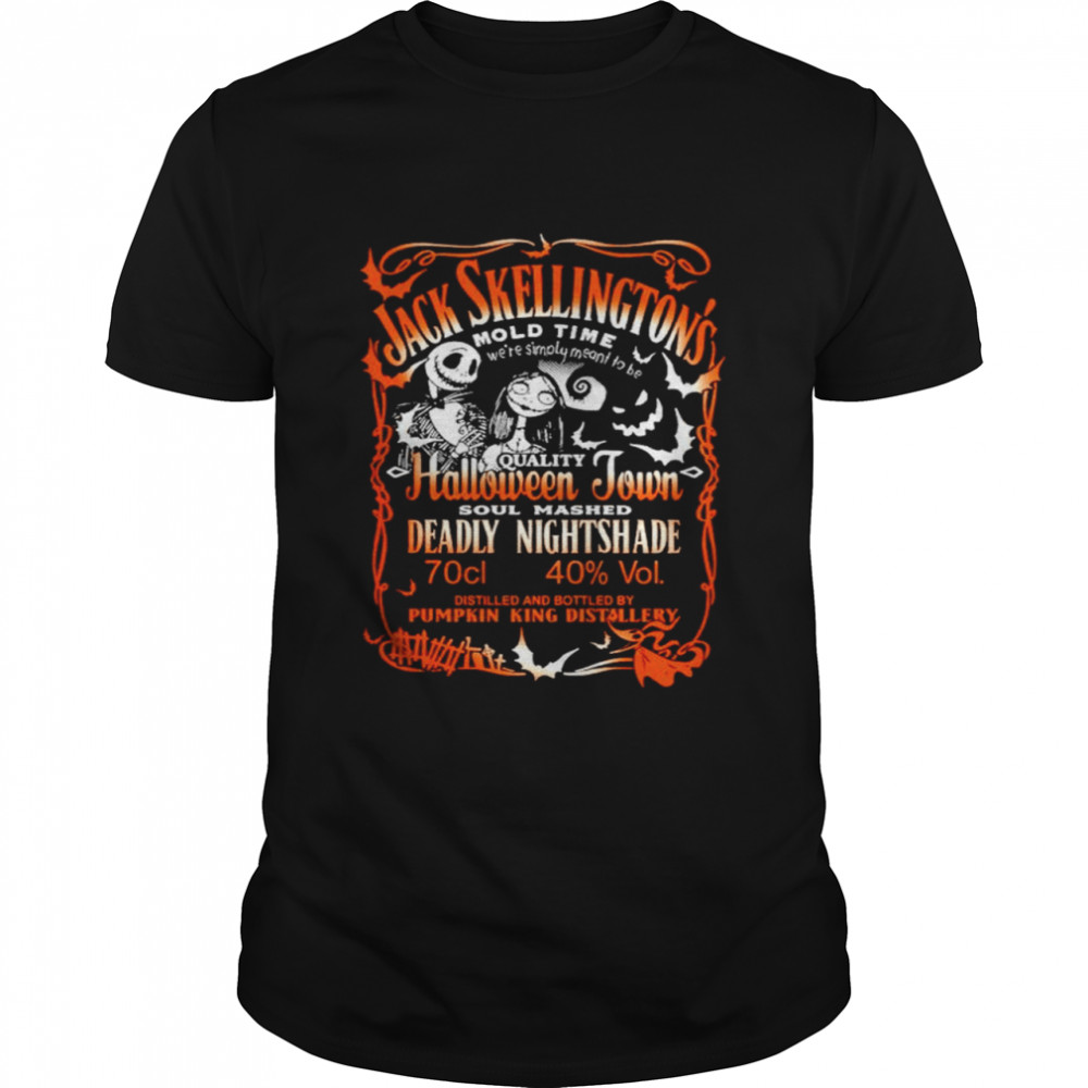 Jack Skellington And Sally Quality Halloween Town Soul Mashed Deadly Nightshade Shirt